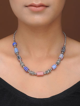 Blue-Orange Tribal Silver Necklace