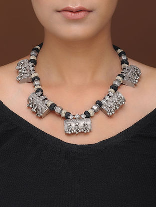 Black Thread Tribal Silver Necklace
