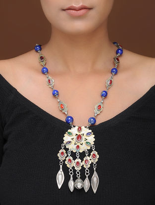 Lapis Lazuli and Coral Silver Necklace