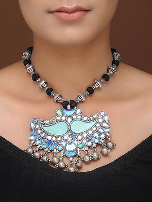 Blue Glass Tribal Silver Thread Necklace