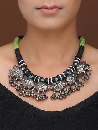 Black-Green Thread Tribal Silver Necklace