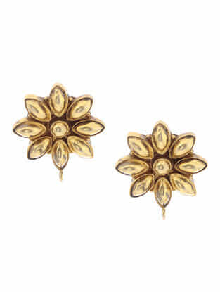 Gold Tone Silver Earrings with Floral Design