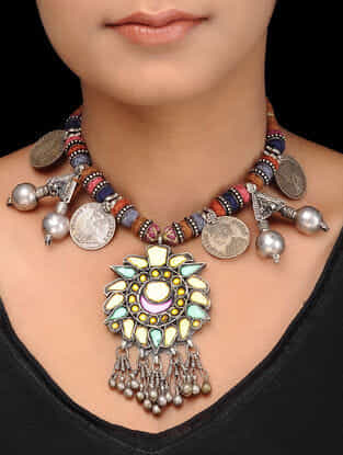Multicolored Thread Glass Tribal Silver Necklace