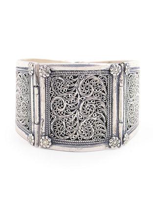 Hinged Opening Tribal Silver Bracelet