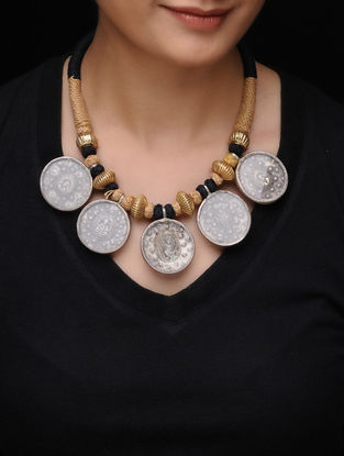 Brown-Black Thread Tribal Silver Necklace with Deity Motif