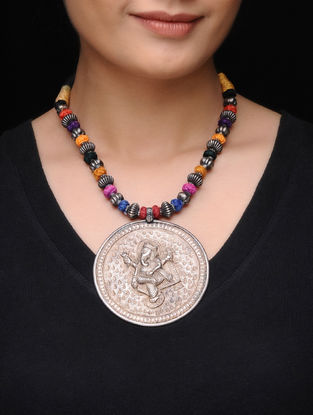 Multicolored Thread Tribal Silver Necklace with Lord Ganesha Motif