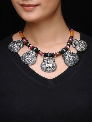 Multicolored Thread Silver Necklace with Deity Motif