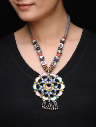 Multicolored Glass Tribal Silver Necklace