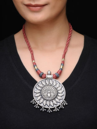 Red Thread Necklace with Peacock Motif Silver Pendant