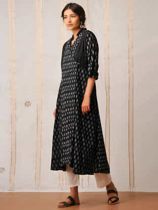 Black Handloom Cotton Ikat Kurta by Jaypore