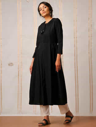 Black Handloom Cotton Kurta by Jaypore