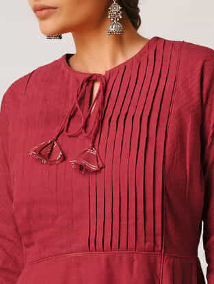 Red Handloom Cotton Kurta by Jaypore
