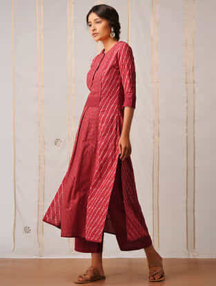 Red Handloom Cotton Ikat Kurta by Jaypore