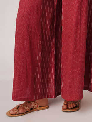 Red Handloom Cotton Ikat Palazzos by Jaypore