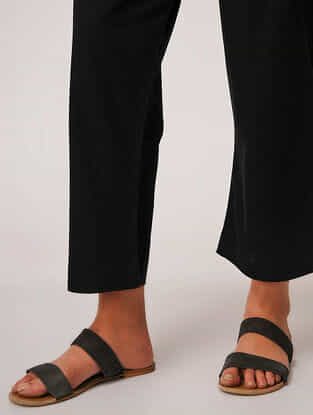 Black Tie-up Waist Handloom Cotton Pants by Jaypore