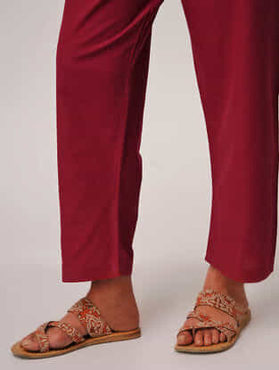 Red Tie-up Waist Handloom Cotton Pants by Jaypore