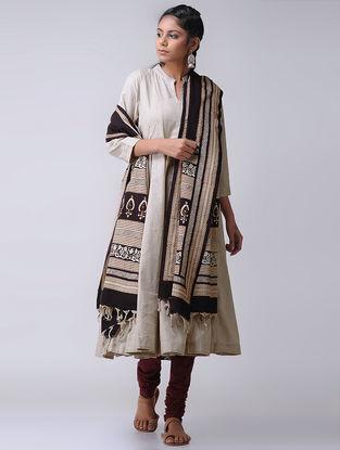 Beige Cotton Slub Kalidar Kurta by Jaypore
