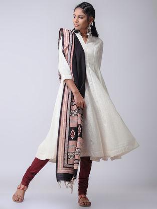 Ivory Cotton Slub Kalidar Kurta by Jaypore