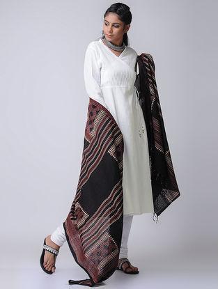 White Cotton Slub Pintuck Angrakha by Jaypore