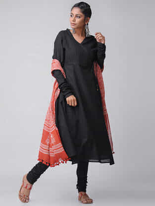 Black Cotton Slub Pintuck Angrakha by Jaypore
