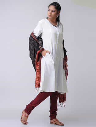 White Cotton Slub Kurta with Pockets by Jaypore