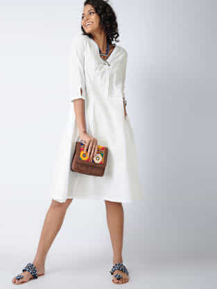 White Cotton Slub Dress with Pockets