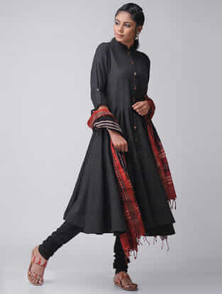Black Cotton Slub Kalidar Kurta by Jaypore