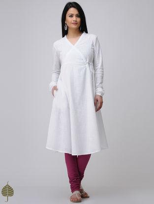 White Cotton Slub Angrakha by Jaypore
