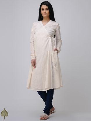 Ivory Cotton Slub Angrakha by Jaypore