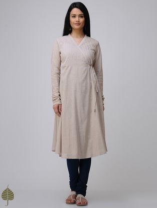 Beige Cotton Slub Angrakha by Jaypore