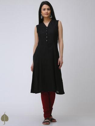Black Cotton Slub Kurta by Jaypore