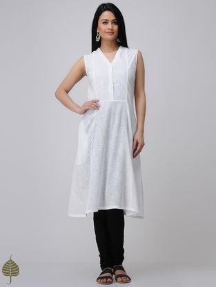 White Cotton Slub Kurta by Jaypore