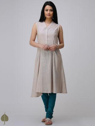 Beige Cotton Slub Kurta by Jaypore