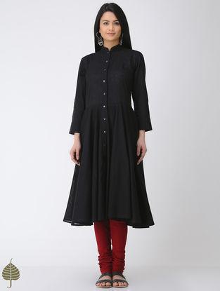 Black Button-down Cotton Slub Kurta by Jaypore
