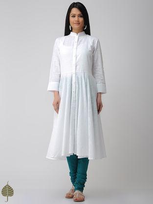 White Button-down Cotton Slub Kurta by Jaypore