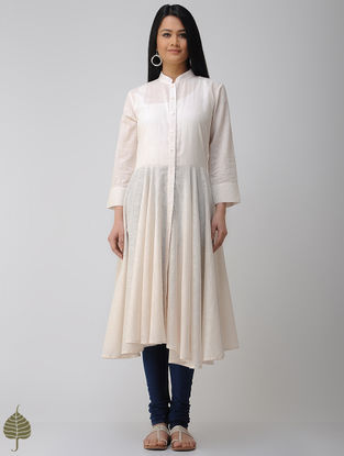 Ivory Button-down Cotton Slub Kurta by Jaypore