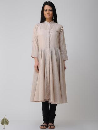 Beige Button-down Cotton Slub Kurta by Jaypore