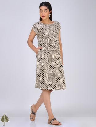 Black-Ivory Block-Printed Pintuck Cotton Dress by Jaypore