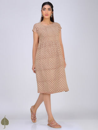 Red-Ivory Block-Printed Pintuck Cotton Dress by Jaypore