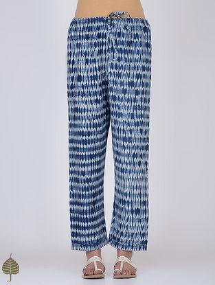 Indigo-White Shibori Tie-up Waist Cotton Pants by Jaypore