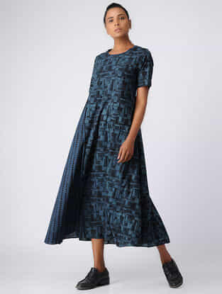 Indigo-Black Ajrakh Cotton Kurta by Jaypore