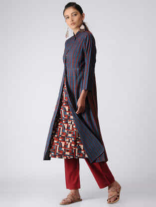 Indigo-Madder Ajrakh Cotton Jacket with Dress by Jaypore (Set of 2)