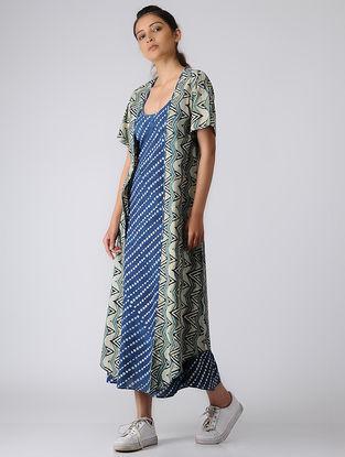 Ivory-Indigo Ajrakh Cotton Jacket with Dress by Jaypore (Set of 2)