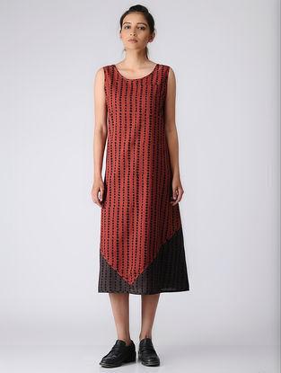 Madder-Brown Ajrakh Cotton Dress by Jaypore