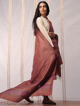 Brown-Pink Block Printed Tussar Silk Dupatta by Jaypore