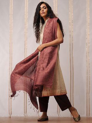 Brown Block Printed Tussar Silk Dupatta by Jaypore