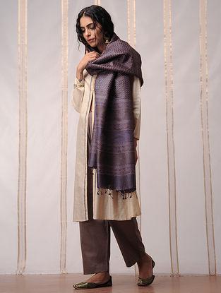 Purple Block Printed Tussar Silk Dupatta by Jaypore