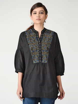 Black Embroidered Mandarin Collar Cotton Top by Jaypore