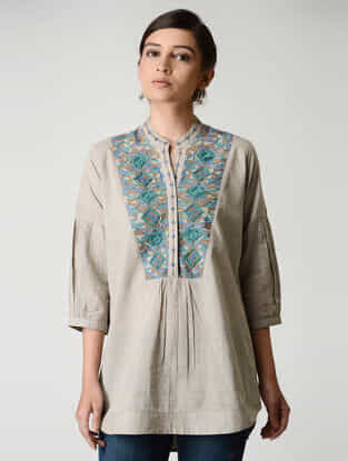 Beige Embroidered Mandarin Collar Cotton Top by Jaypore
