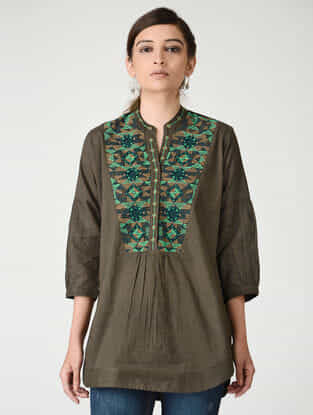 Brown Embroidered Mandarin Collar Cotton Top by Jaypore